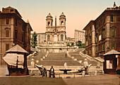 Trinita dei Monti, Rome, Italy, Photochrome Print, circa 1901