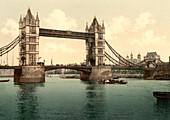 Tower Bridge, London, England, Photochrome Print, circa 1901