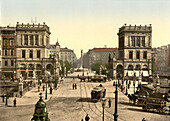 Street Scene, Halle Gate and Belle Alliance Square, Berlin, Germany, Photochrome Print, circa 1901