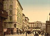 Street Scene, Rome Italy, Photochrome Print, circa 1901