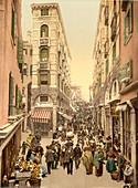 Street Scene Near the Rialto, Venice, Italy, Photochrome Print, circa 1901