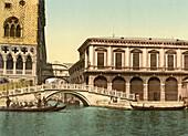 Bridge of Sighs, Venice, Italy, Photochrome Print, circa 1901