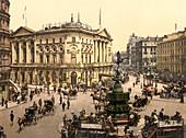 Piccadilly Circus, London, England, Photochrome Print, circa 1901