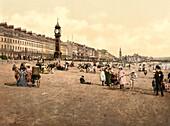Jubilee Clock Tower and Beach, Weymouth, England, Photochrome Print, circa 1901
