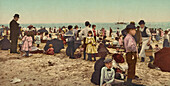 Crowd on Beach, Coney Island, Brooklyn, New York, USA, Photochrome Print, circa 1903