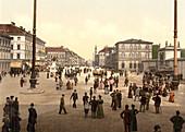 Street Scene, Odensplatz and Ludwigstrasse, Munich, Bavaria, Germany, Photochrome Print, circa 1901