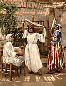 Dancing Arab Girls, Algiers, Algeria, Photochrome Print, circa 1900