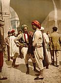 Arab Men, Tunis, Tunisia, Photochrome Print, circa 1900