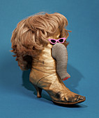 Elephant made from boot and wig over blue background