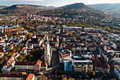 View from Jentower to the old town of Jena with church St. Michael, Jena city, Thuringia, Germany, Europe