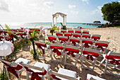 Wedding setting on a sandy beach at Pigeon Point, Tobago, West Indies, South America