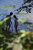 Young boy and girl at Lake Schönsee