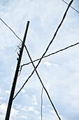 twisted power mast at Agulo village, La Gomera, Canary Islands, Spain