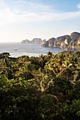 View towards infamous ''the Beach'' island Ko Phi Phi Leh, Phi Phi Islands, Thailand, Southeast Asia