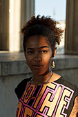 Portrait of young afro-american woman at Koenigsplatz, Munich, Bavaria, Germany