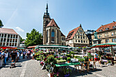 market at the Schillerplace of Stuttgart, Baden Wuerttemberg, south Germany, Germany