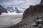 Barre des Ecrins, Glacier Blanc and Refuge des Ecrins, Ecrins National Park, Dauphiné, France
