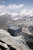 The newly renovated Hörnli Hut at the foot of the Matterhorn, Pennine Alps, canton of Valais, Switzerland