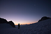 Sunrise on the glacier Plateau du Trient, Pennine Alps, canton of Valais, Switzerland