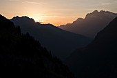 Sunrise in the Bernese Oberland, on the right Wetterhorn, Bernese Alps, canton of Bern, Switzerland