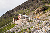 The Tschierva Hut of the Swiss Alpine Club on the base of Piz Bernina, Rhaetian Alps, canton of Grisons, Switzerland
