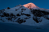 Piz Roseg in the first light of the sun, Rhaetian Alps, canton of Grisons, Switzerland