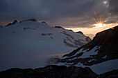 Sunset over the glacier Plateau du Trient, Pennine Alps, canton of Valais, Switzerland