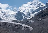 Glacier foreland of the Morteratsch Glacier, on the right Piz Bernina, Bernina Massif, Central Eastern Alps, canton of Grisons, Switzerland