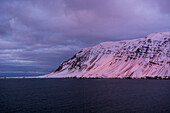 The last light of the day makes Nesnúpur glow, norther tip of  Tröllaskagi or in English Troll Peninsula, Iceland