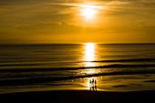4 people as a silhouette go for a walk on the beach at sunrise on the Atlantic ocean, Daytona Beach, Florida, USA