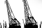 Silhouette of an accumulation of historical and new cranes in the Hamburg harbour, Hamburg, Germany