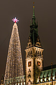 The front view of the in the historical style of the neorenaissance built Hamburg city hall with the (112-m-high) tower and an illuminated artificial Christmas tree, Hamburg, Germany