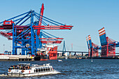 A excursion boat entering the harbour, container terminal Burchardkai, with many container cranes, some vessels and the Köhlbrandbrücke in the background, Hamburg, Germany