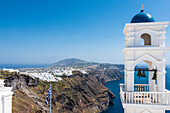 Tower of the Greek orthodox Anastasi church with view direction Firostefani, Fira and view up to the horizon and the Mediterranean Sea, Imerovigli, Santorin, Cyclades, Greece