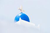 Dome of a traditionally built blue white Greek orthodox church, Kamari,Cyclades, Santorini, Greece
