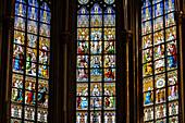Choir window, Saint Ludgerus cathedral in Billerbeck, neo-Gothic Catholic pilgrimage church, diocese Münster, Billerbeck, North Rhine-Westphalia, Germany