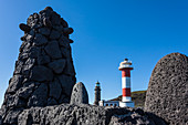 Lighthouses at the south point of the island in the volcano area, Fuencaliente, La Palma, Canary islands, Spain
