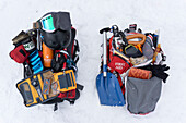 Winter backcountry backpack full of equipment