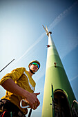 Professional Athlete Peter Auer on the world's first wind turbine highline. This special project took place over the skyline of Vienna, Austria and involved some special equipment, rigging skills. The set up was about 50m long and about the same height.