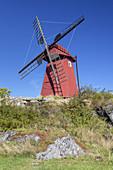 Red Windmill on the Island Hönö, Archipelago Göteborg, Bohuslän, Västergötland, Götaland, South Sweden, Sweden, Scandinavia, Northern Europe, Europe