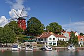 Wind mill and harbour in Strängnäs by the lake Mälaren, Södermanland, South Sweden, Sweden, Scandinavia, Northern Europe, Europe