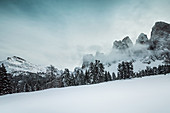 Winterly morning in the area of the Villnoesser Geisler, Gruppo delle Odle, Dolomites, Unesco world heritage, Italy