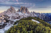 View to the Cadini Group, which are part of the Sexten Dolomites, Unesco world heritage, Italy
