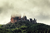 Cinque Torri mountain on an early morning after a storm, Bellunesi Dolomites, Unesco world heritage, Italy