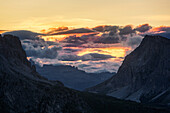 Impressive cloud formations at sunset in the Bellunesi Dolomites, Unesco world heritage, Italy