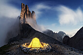 Camping spot beneath the Vajolet Towers, Rosengarten mountain range, Dolomites, Unesco world heritage, Italy