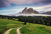 View from Wuerzjoch towards Peitlerkofel, Dolomites, Unesco world heritage, South Tyrol, Italy