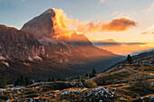 Morning view to Tofane, Located on the left the Falzarego Mountain Pass, Dolomites, Unesco world heritage, Italy