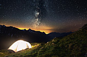 Camping spot in the area of Pfitscherjoch mountain pass, South Tyrol, Italy
