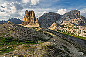 Sextner Stein near the Dreizinnen mountain hut, On the left Toblinger Knoten, on the right Dreischusterspitze, Sexten Dolomites, Unesco world heritage, Italy